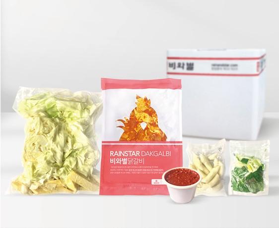 비와별닭갈비 춘천닭갈비 택배 4인분 선물세트 (야채, 떡, 우동사리)